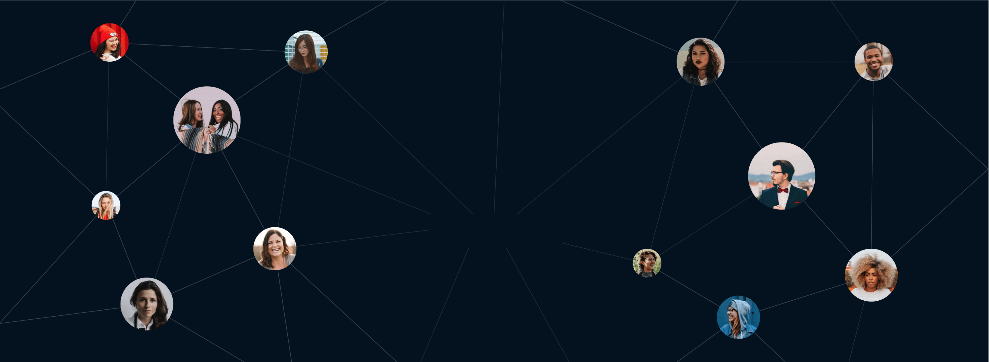 Collage of interconnected user avatars.