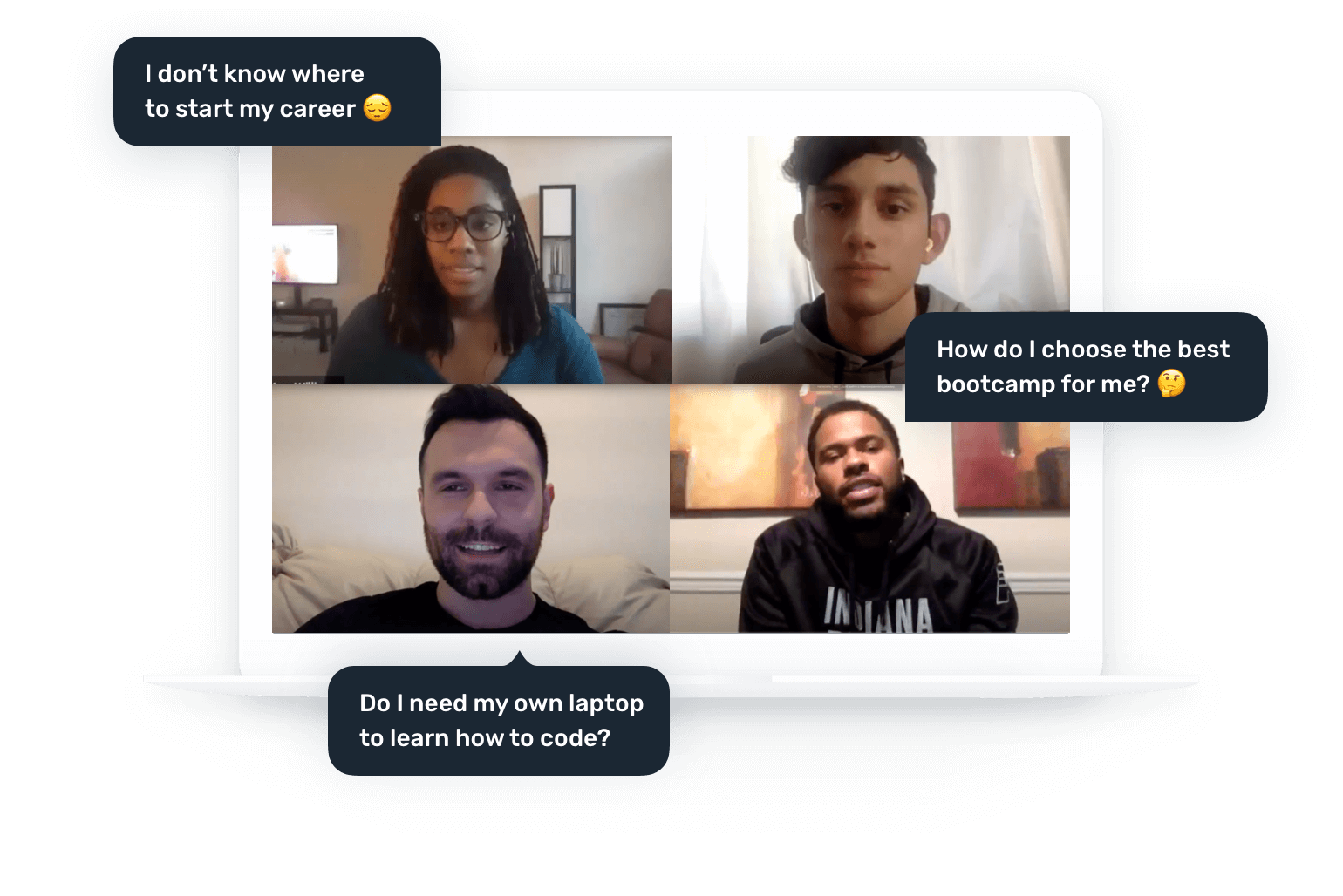 Video call with four Career Karma users talking about starting careers, choosing bootcamps, and laptops.